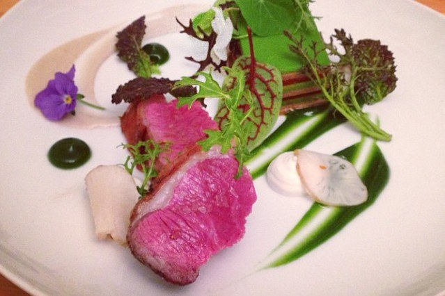 Medium_lamb__vegetable_terrine__whipped_brown_butter_yogurt__mint_pudding__pickled_sunchokes__sunchoke_horseradish_pur_e